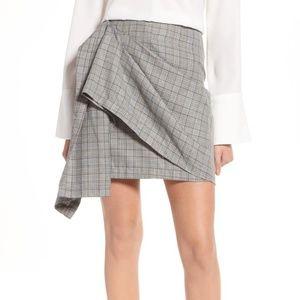 J.O.A Draped Plaid Wrap Skirt